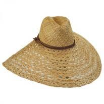 Verona Raffia Straw Open Weave Wide Brim Fedora Hat