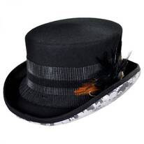 White Lace Steampunk Wool Felt Top Hat
