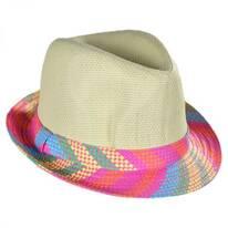 Kids' Plaid Brim Toyo Straw Fedora Hat