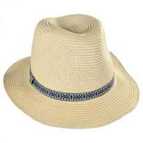 Kids' Jacquard Band Toyo Straw Fedora Hat