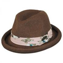 Roll Up Brim Straw Fedora Hat