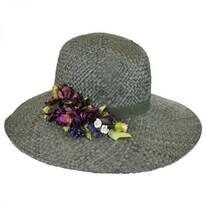 Rosette Raffia Straw Down Brim Hat