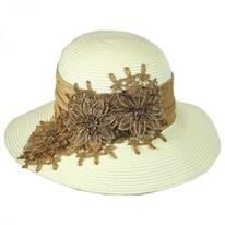 Embroidered Toyo Straw Cloche Hat