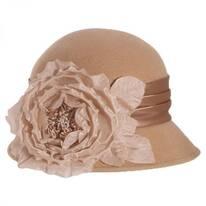 Side Rose Wool Felt Cloche Hat
