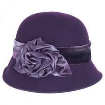 Silk Swirl Rose Wool Felt Cloche Hat