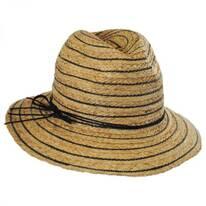 Stripe Raffia Straw Fedora Hat