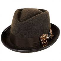 Pheasant Wool Felt Diamond Crown Fedora Hat