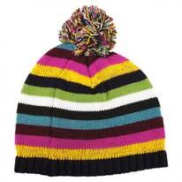 Kids Striped Knit Pom Beanie Hat