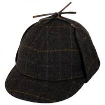 Windowpane Plaid Wool Sherlock Holmes Hat