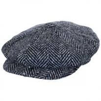 Large Herringbone Donegal Tweed Wool Newsboy Cap - Tan/Brown