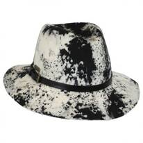 Black and White Wool Felt Safari Fedora Hat