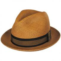 Two-Tone Band Panama Straw Trilby Fedora Hat