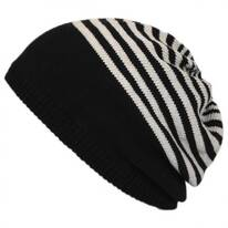 Striped Knit Cotton Beret