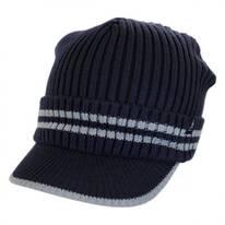Ribbed Visor Knit Beanie Hat