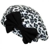 Cheetah Bow Fleece Beret