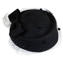 Bow and Mesh Pillbox Hat