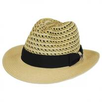 Two-Tone Vent Crown Toyo Straw Safari Fedora Hat