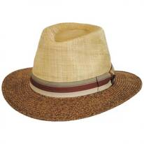 Two-Tone Straw Safari Fedora Hat