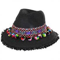 Aztec Band Pom Pom Toyo Straw Fedora Hat