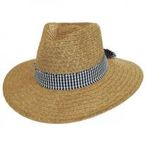 Gingham Band Toyo Straw Fedora Hat