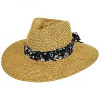 Floral Band Toyo Straw Fedora Hat