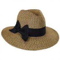 Offset Bow Toyo Straw Fedora Hat