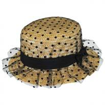 Polka Dot Wheat Straw Boater Hat
