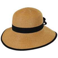 Two-Tone Bow Toyo Straw Sun Hat