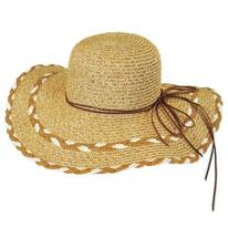 Stitched Toyo Straw Floppy Hat