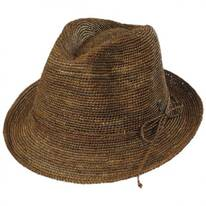 Crochet Raffia Straw Stingy Brim Fedora Hat