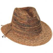 Space Dye Raffia Straw Fedora Hat