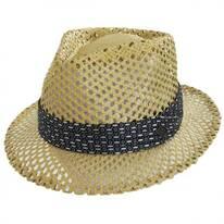 Cane Open Weave Toyo Straw Fedora Hat