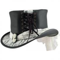 Havisham White Lace Leather Top Hat