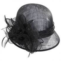 Rosette Straw Cloche Hat