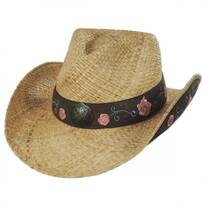 Pink Rose Straw Western Hat