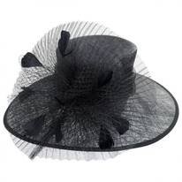 Fishnet Sinamay Straw Boater Hat