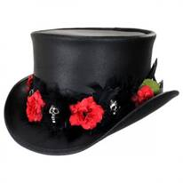 Red Death Leather Top Hat