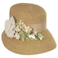 Linen Rose Bouquet Toyo Straw Facesaver Hat