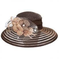 Sinamay Rose Straw and Mesh Lampshade Hat