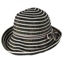 Metallic Ribbon Cloche Hat