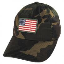 USA Flag Badger Slouch Strapback Baseball Cap Dad Hat