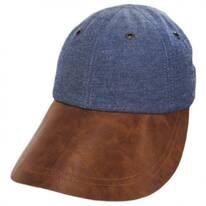 Vegan Leather Long Bill Strapback Baseball Cap