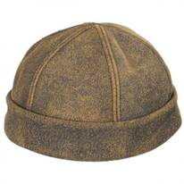 Six Panel Antique Leather Skull Cap Beanie Hat