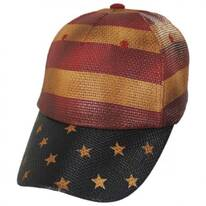 Stripes and Stars Straw Adjustable Baseball Cap