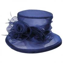 Rosette Organza Packable Boater Hat