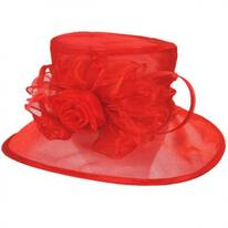 Rose Organza Packable Boater Hat