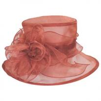 Floral Organza Packable Boater Hat