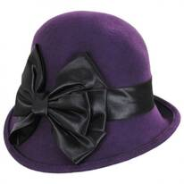 Satin Bow Wool Felt Cloche Hat