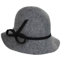 Bow Accent Wool Felt Cloche Hat