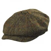 Carloway Harris Tweed Wool Overcheck Herringbone Newsboy Cap